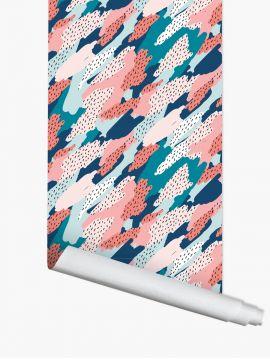 Blot, Turquoise - 3 lés de 2,20m x 88cm - Aquapaper satiné