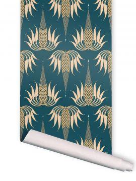 Freda, Bleu - 2 lés de 3m x 89,4cm - Aquapaper satiné