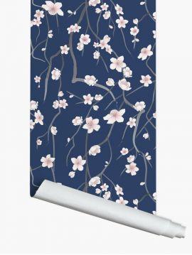 Sakura, Bleu foncé - 3 lés de 3m x 44,7cm - Aquapaper mat pré-encollé