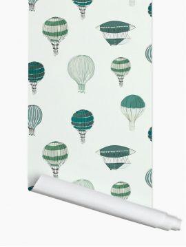 Montgolfière, Vert - 2 lé de 3m x 44,7 - Aquapaper mat pré-encollé