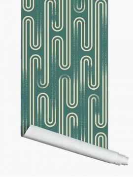 Neptune, Vert - 3 strips of 3m x 88cm - Aquapaper satiné