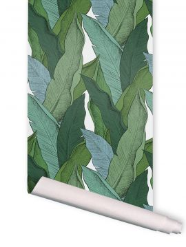 Leaf, Vert fond rose - 4 strips of 3m x 88cm - AQUAPAPER SATIN WASHABLE