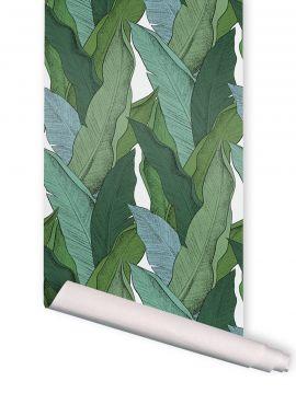 Leaf, Vert fond rose - 4 strips of 3m x 89,4cm - AQUAPAPER SATIN WASHABLE