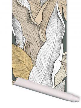Leaf, Beige - Rouleau de 5m x 88cm - Aquapaper satiné pré-encollé lessivable