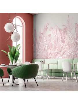 Fresque Botanic - Rose - 5 lés B-C-A-B-C de 88 x 270cm - Aquapaper Satiné lessivable