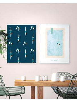Set de 2 posters Le plongeon & La Piscine