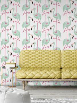 Flamingo - blanc/mint - roll 900 x 52 cm - Traditionnal washable
