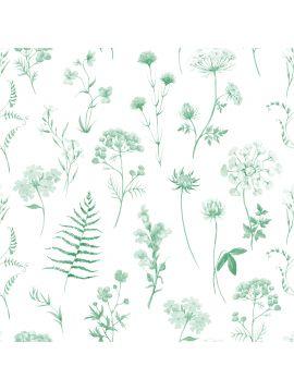 Herbier - Vert Monochrome - rouleau 3m x 44,7 cm BP - Aquapaper mat non lavable