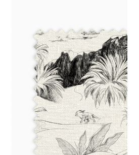 Jungle Bleu canard - Cushion 45 x 45cm with piping