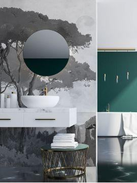 Fresque Toscane Monochrome - Fusain - 2 lés C-D de 88 x 280cm - Aquapaper satiné lessivable