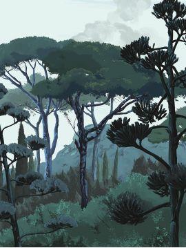 Fresque Toscane - Vert - 2 lés E-F de 88 x 330cm - Aquapaper Satiné lessivable