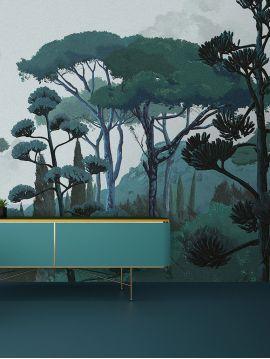 Fresque Toscane - Vert - 3 lés D-E-F de 88 x 290cm - Aquapaper satiné lessivable