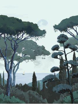 Fresque Toscane - Vert - 2 lés D-E de 88 x 340cm - Aquapaper satiné lessivable