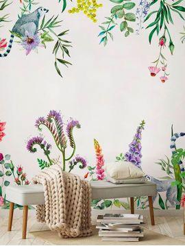 Fresque Lewis - Blanc platine - 2 lés A-B de 78 x 250cm - WallDecor semi-mat lavable