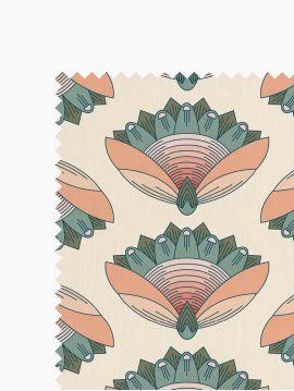 Tissu Leaf Rouge 4m, Lin et coton