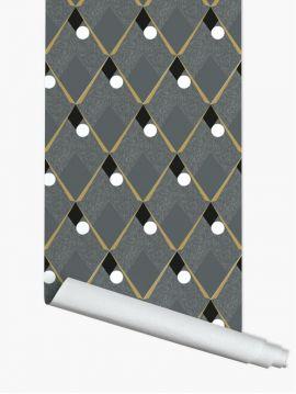Arlequin - gris foncé - 89,4 x 300cm - Aquapaper satiné lessivable