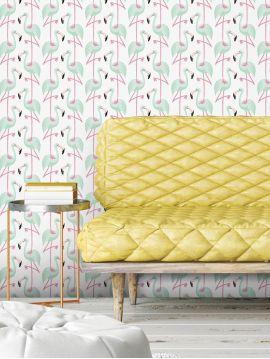 Flamingo - mint - 264 x 250cm - Aquapaper satiné lessivable