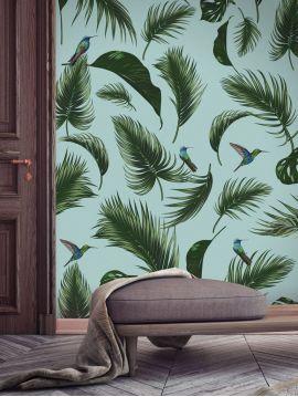 Wallpanel Jungle - vert d'eau - 3 strips A-B-A of 89,4 x 270cm - Aquapaper satin washable