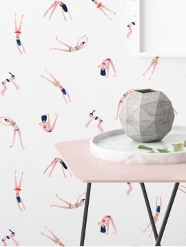Les Nageuses - multicolore - 53 x 300cm - Traditional Wallpaper 1 ex A