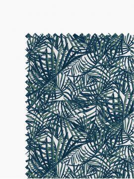 Lot 4mètres Tissus Palmea Bleu Vert , coton