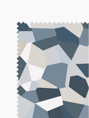 Fabric Palmea Bleu Gris 4m, Lin & cotton