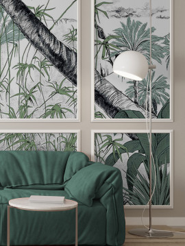 Wallpanel Oasis color - Vert - 1 strip F of W. 88 x H. 320cm - Aquapaper satin washable