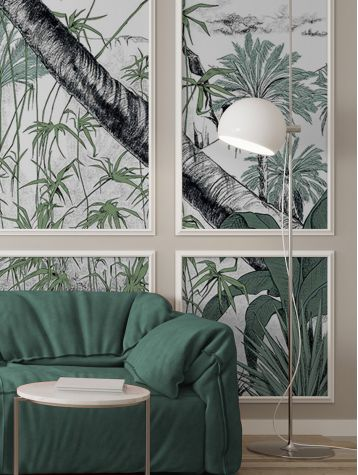 Wallpanel Oasis color - Vert - 1strip F of L.88 x 320cm - Aquapaper satin washable