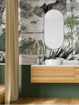 Fresque Oasis couleur - Vert - L234 x H250cm A-B-C - WallDecor semi-mat lavable