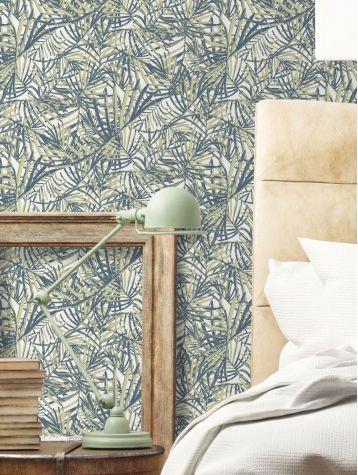 Palméa, Bleu / gris - 88 x 1400 cm - Aquapaper satiné lessivable 1ex