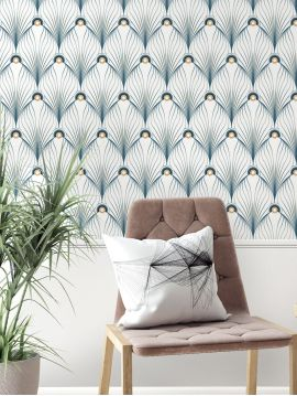 Paon, Blanc - 44,7 x 300 cm - Aquapaper mat pré-encollé 1ex