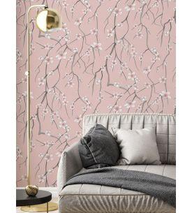 In Bloom noir et blanc - L. 156 cm x H. 250 cm - WallDecor Semi-mat