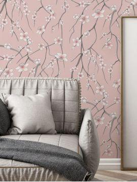 Sakura, rose - 44,7 x 300 cm - Aquapaper mat pré-encollé 1 ex