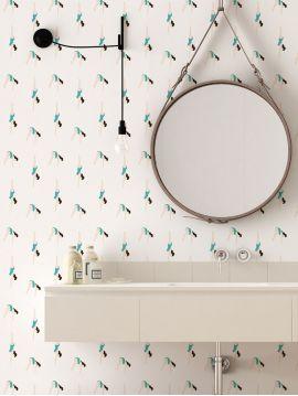 Le plongeon, Turquoise / blanc - 96 x h. 215 cm - Fiber glass lavable 1 ex