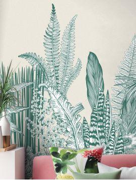 Fresque Botanic, vert - 176 x 250 cm - Aquapaper satiné lssivable - A.B