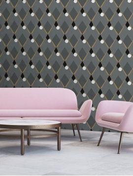 Arlequin, gris foncé - 52 x 900 cm - WallDecor semi-mat 1ex
