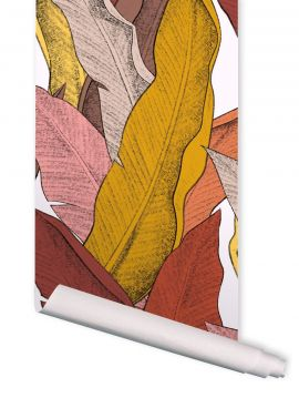 Leaf, rouge - 88 x 470 cm - Aquapaper satin pre-pasted