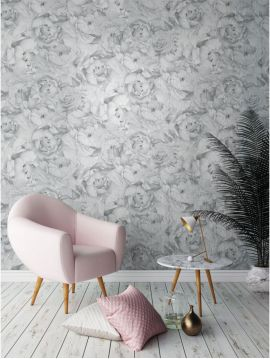 Paeonia, gris argent - 52 x 600 cm - WallDecor semi-mat 1ex