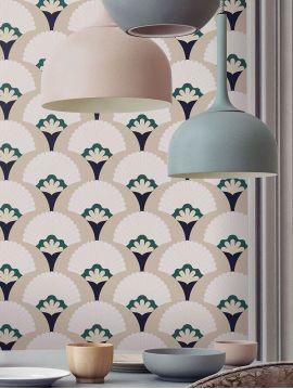 Palm, blanc/beige - 44,7 x 300 cm - Aquapaper satiné lessivable 1 ex