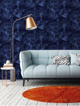 Palmier, bleu - 44,7 x 300 cm - Aquapaper mat pré-encollé 1ex