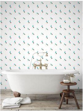 Plongeon, turquoise/blanc - 55 x 1000 cm - Traditionnal wallapaper 1ex