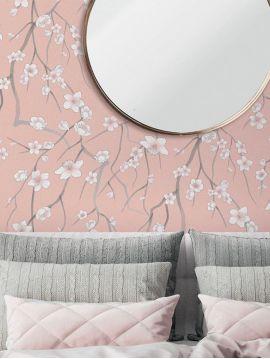 Sakura, rose - 44,7 x 300 cm - Aquapaper mat pré-encollé 1ex