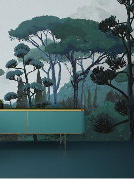 Fresque Toscane, vert - L.312 x H.240 cm - WallDecor semi mat - lés A.B.C.D.
