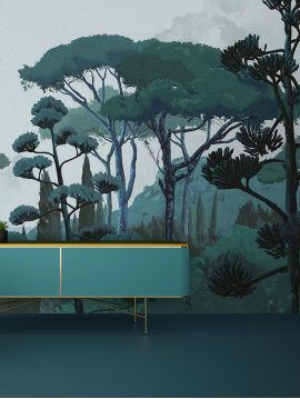 Fresque Toscane, vert - L.312 x H.240 cm - WallDecor semi mat - strips A.B.C.D.