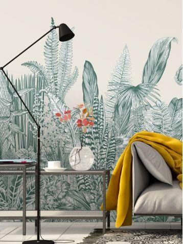 Wallpaper Botanic, vert - L.234 x H.250 cm - WallDecor semi-satin - strips A.B.C.