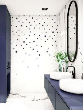 Wallpaper Nuit étoilée, fond blanc - L.264 x H.250 cm - Aquapaper mat pre-pasted - strips A.B.C.