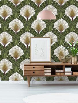 Ravinala, vert lichen - L.208 x H.300 cm - WallDecor semi-mat