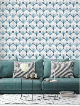 Paon, blanc - 88 x 300 cm - Aquapaper satiné lessivable 1 ex