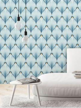 Paon, bleu - 88 x 180 cm - Aquapaper satiné lessivable 1 ex
