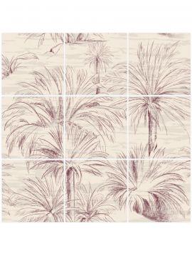 Palmier Mosaique beige -  9 Planches répétition du motif sur le haut et le bas