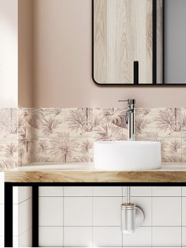 Palmier Mosaique beige -  9 Planches répétition du motif sur tous les côtés